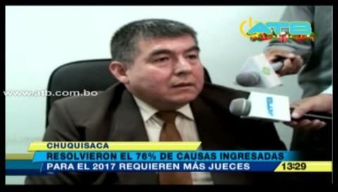 Chuquisaca: Jueces resolvieron el 76% de las causas que ingresaron a sus juzgados