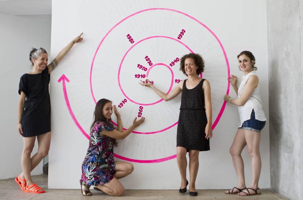 De izq. a dcha. Powerpaola, Delius, Clara Lagos y Sole Otero en la Fundación Proa.