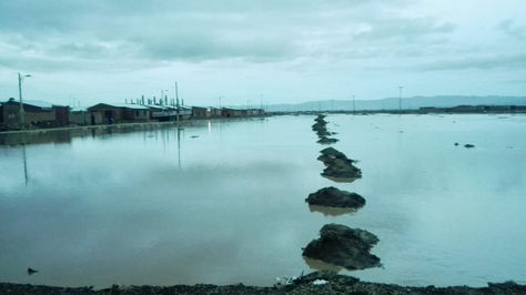 Así quedó la zona afectada en Oruro pòr el desborde del río Paria.