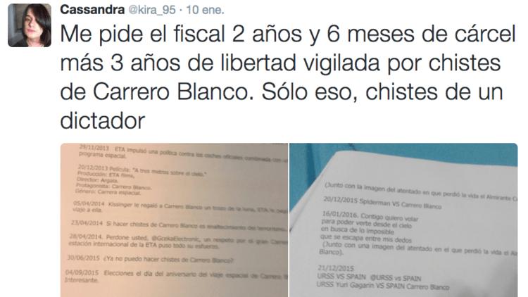 Piden 2 años y 6 meses de cárcel para una tuitera que hizo chistes sobre un general franquista