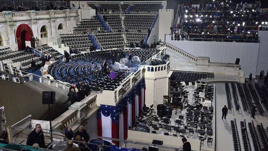 Una vista general del área oeste del área donde será la toma de posesión de Trump en el lado oeste del Capitolio. (Crédito: PAUL J. RICHARDS/AFP/Getty Images)