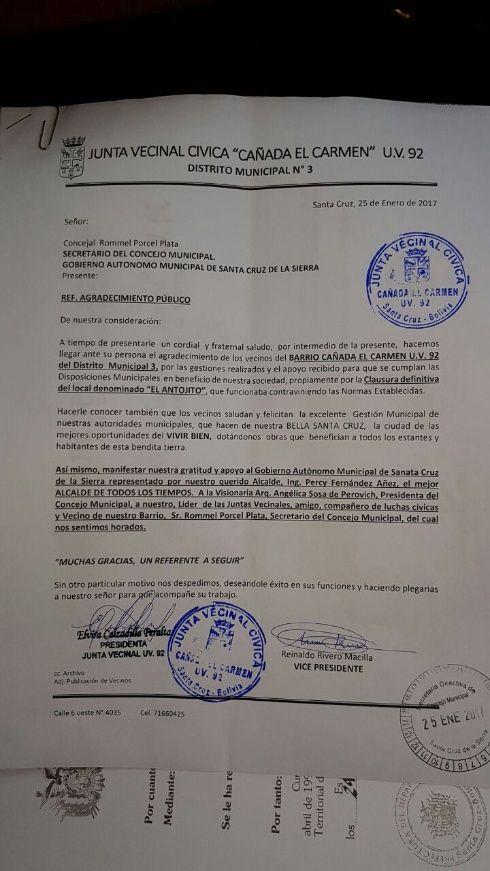 Carta al concejal Rommel Pórcel