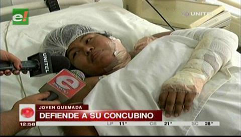 Mujer quemada defiende a su esposo y señala que sólo fue un accidente