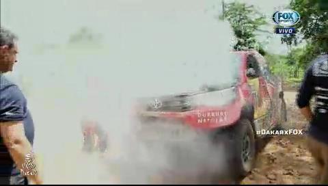 Así fue el incendio en el auto de Al-Attiyah
