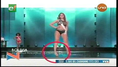 Antonella Moscatelli se torció el tobillo en el desfile preliminar del Miss Universo