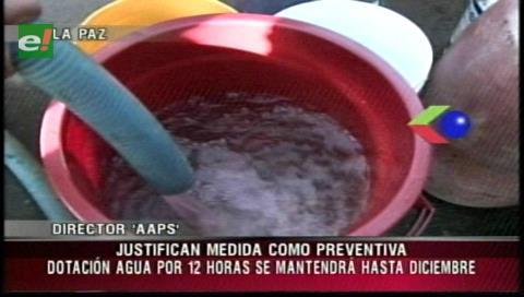 La Paz: Garantizan el suministro de agua por 12 horas todos los días hasta diciembre