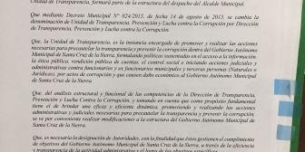 Alcalde cruceño crea la Secretaría Anticorrupción