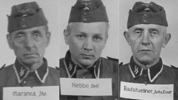 Johannes Maranca, veterano de la Primera Guerra Mundial dedicado a la plomería y vuelto a reclutar a los 53 años; Detlef Nebbe ingresó en las SS en 1933 y llegó al rango más alto para los enlistados, Hauptscharführer; Johannes Badstuebner, minero del este de Alemania