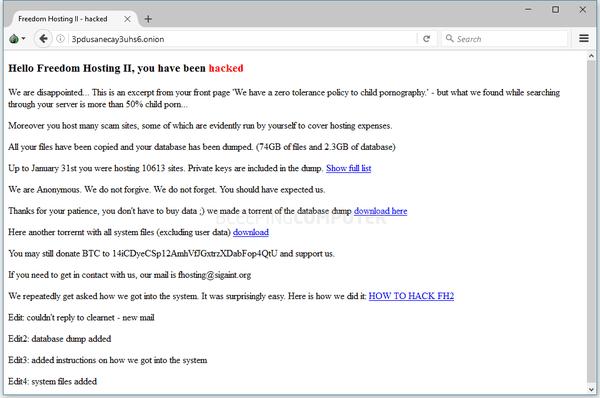 El mensaje dejado por los hackers en los sitios bloqueados (Bleepingcomputer)
