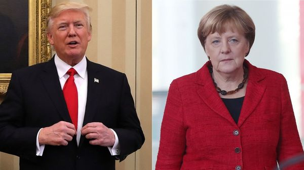 El presidente de Estados Unidos, Donald Trump, y la canciller de Alemania, Angela Merkel (Getty)