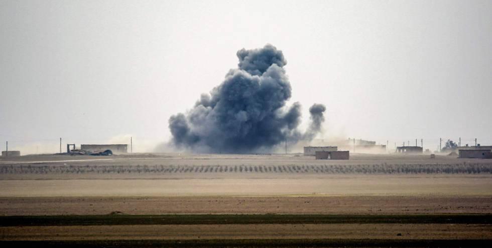 Imagen de una explosión en el norte de Siria, de este miércoles.