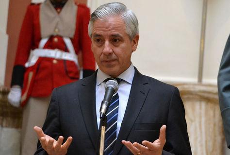 El presidente en ejercicio Álvaro García Linera brinda conferencia de prensa en Palacio de Gobierno. Foto: ABI