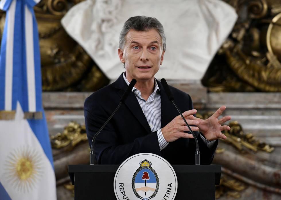 Mauricio Macri durante la rueda de prensa en la Casa Rosada.