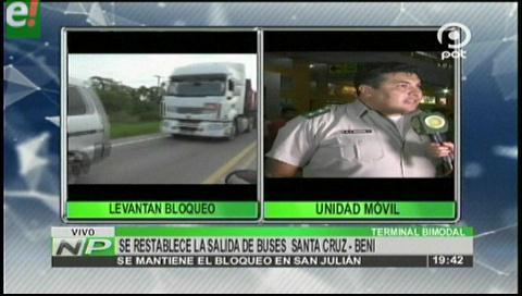 Transportistas declaran cuarto intermedio en bloqueo de carretera al Beni