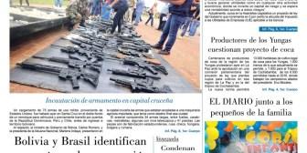 Portadas de periódicos de Bolivia del sábado 18 de febrero de 2017