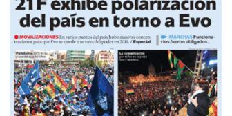 Portadas de periódicos de Bolivia del miércoles 22 de febrero de 2017