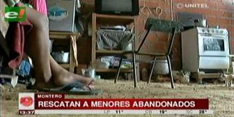 Rescatan a 4 menores abandonados en Montero con desnutrición y neumonía