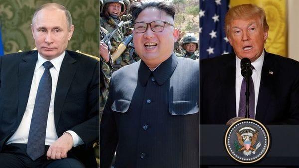 Vladimir Putin presidente de Rusia Kim Jong-un líder norcoreano y Donald Trump presidente de los EEUU
