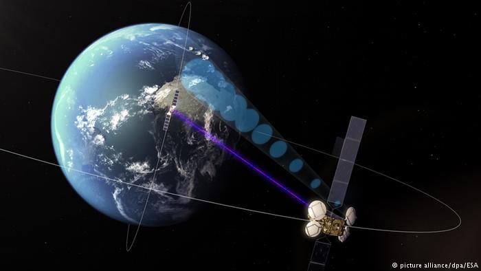 Satélite enviando información a la Tierra.