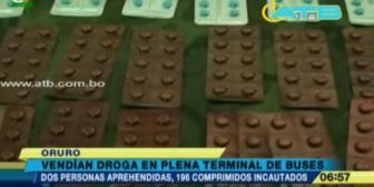 Oruro. Detuvieron a 2 personas que vendían drogas en la terminal