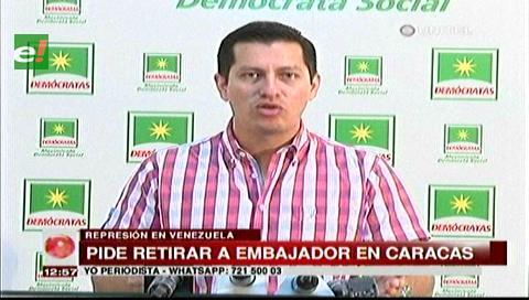 Diputado Vaca pide a Evo que retire al embajador boliviano en Caracas