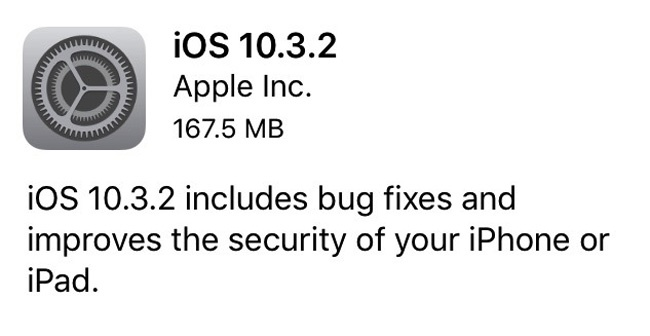 Actualización para iPhone en forma de iOS 10.3.2