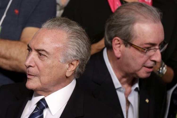 Imagen de marzo de 2016: el entonces vicepresidente Michel Temer junto al entonces jefe de la Cámara de Diputados Eduardo Cunha(REUTERS)
