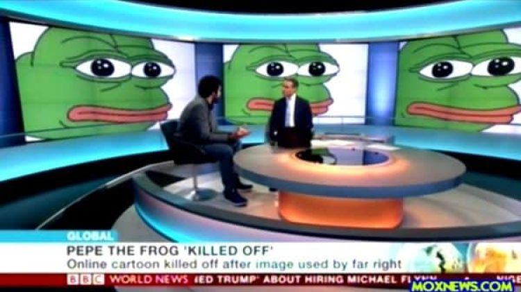 Los medios del mundo (en este caso, la cadena británica BBC) anunciaron la muerte de Pepe, porque se había convertido involuntariamente en un actor político en los Estados Unidos.
