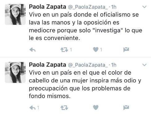Tuits de Paola, la hermana mayor de Gabriela Zapata.