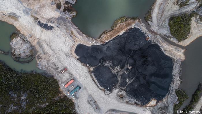 Vista aérea de la mina Bathhurst en Denniston-Plateau.