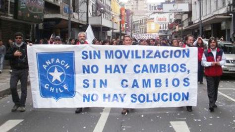Protesta de los funcionarios aduaneros en Chile