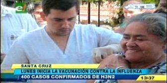 Lunes inicia la vacunación contra la influenza en Santa Cruz