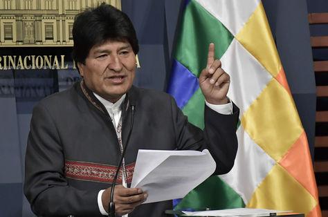 El presidente Evo Morales durante la conferencia de prensa en la que anunció su paquete de medidas contra la burocracia. Foto: ABI