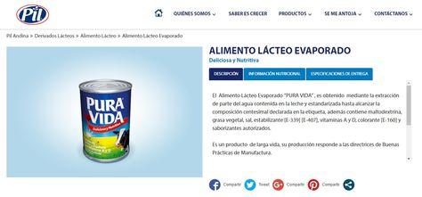 El portal de la empresa Pil Andina que promociona y comercializa Pura Vida en Bolivia.