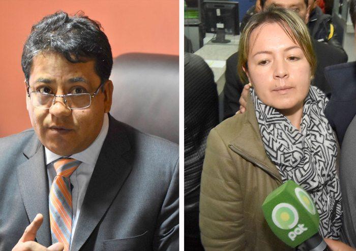Andrés Zúñiga, abogado defensor de uno de los tres abogados suspendidos de YPFB, y la doctora Cynthia Novillo, exgerente Legal Corporativa de la Estatal Petrolera.