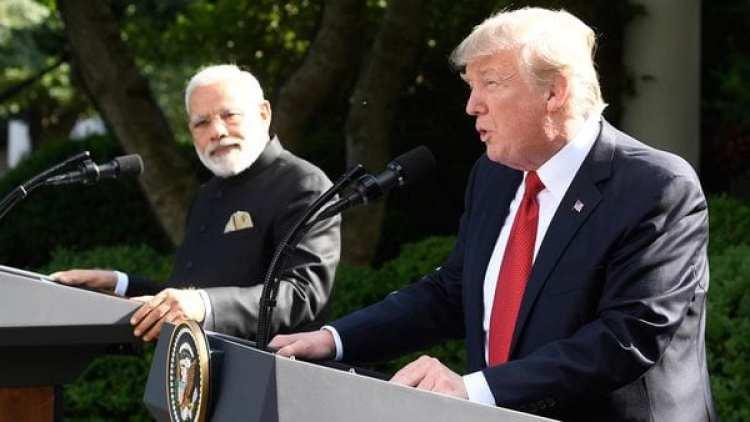 Donald Trump junto a Narendra Modi en la Casa Blanca (AFP)