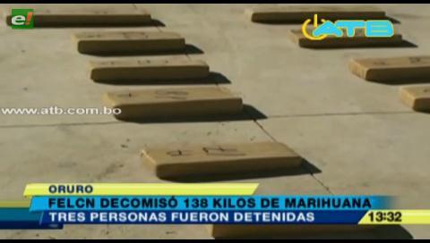 Decomisan 138 kilos de marihuana en Oruro