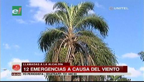 Municipio cruceño atendió 12 casos por los fuertes vientos