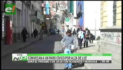 Cívicos de Oruro y Chuquisaca se movilizan contra el alza de la tarifa eléctrica