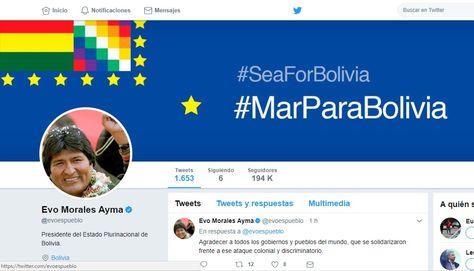 Captura cuenta de Twitter del presidente Evo Morales.