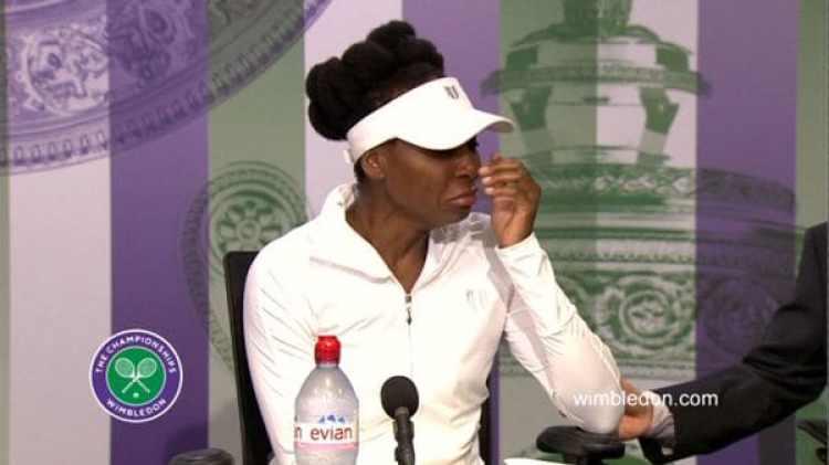 Venus Williams, actualmente en Wimbledon, lloró cuando los periodístas le preguntaron por el accidente