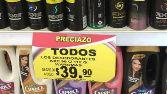 Compró 235 desodorantes al precio de uno porque el cartel de venta estaba mal escrito