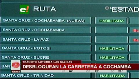 Tránsito autoriza la salida de los buses de la Terminal hacia Cochabamba