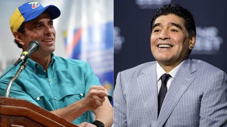 Henrique Capriles y Diego Maradona