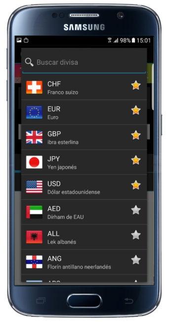 Monedas favoritas en Currency FX