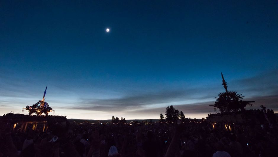 The sun's corona only is visible during a total solar eclipse between the Solar Temples at Big Summit Prairie ranch in Oregon's Ochoco National Forest near the city of Mitchell August 21, 2017. The Sun started to vanish behind the Moon as the partial phase of the so-called Great American Eclipse began Monday, with millions of eager sky-gazers soon to witness