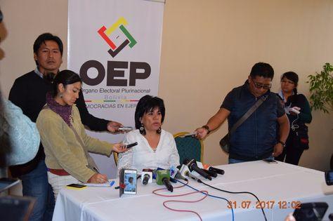 La presidenta del TSE, Katia Uriona, en conferencia de prensa. Fue el lunes.