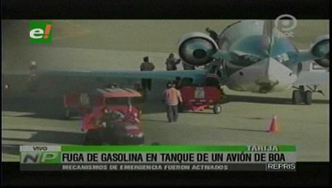 Tarija: Fuga de gasolina en un avión de BOA provoca pánico en pasajeros
