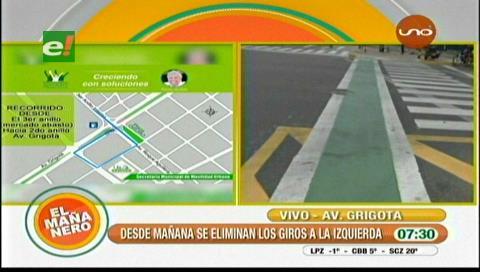 Desde mañana no se podrá girar a la izquierda en la Av. Grigotá y 3er. anillo interno