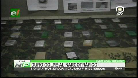 Santa Cruz: Felcn da duro golpe al narcotráfico en ocho operativos